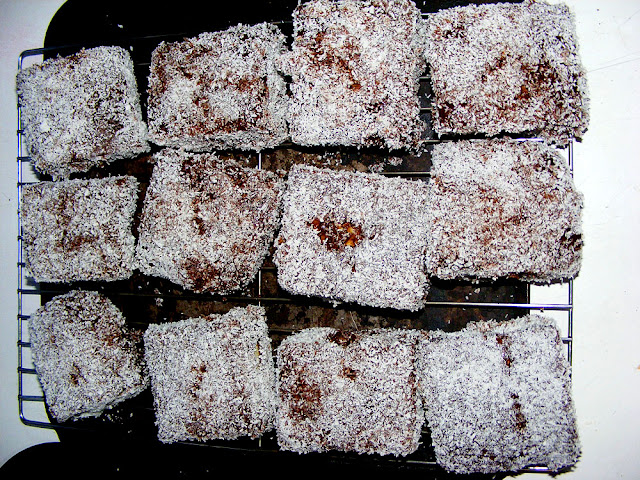 Lamingtons drying on a rack. Photo by Loire Valley Time Travel.