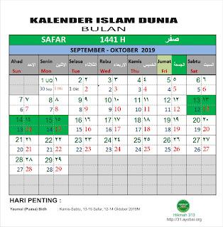 Kalender Islam Dunia Bersatu Bulan Safar 1441 H