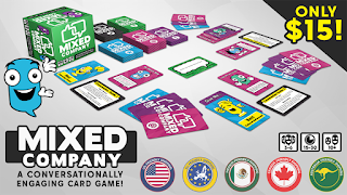 The banner for the Kickstarter page. The prototype components, including the box and various cards in different colours, with Mixxie, the speech balloon character mascot, and icons indicating price ($15) and shipping options (USA, EU, Mexico, Canada, and Australia).