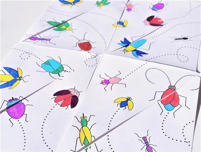na zdjęciu zbliżenie pociętej w trójkąty kartki z wizerunkami pokolorowanych biegających owadów