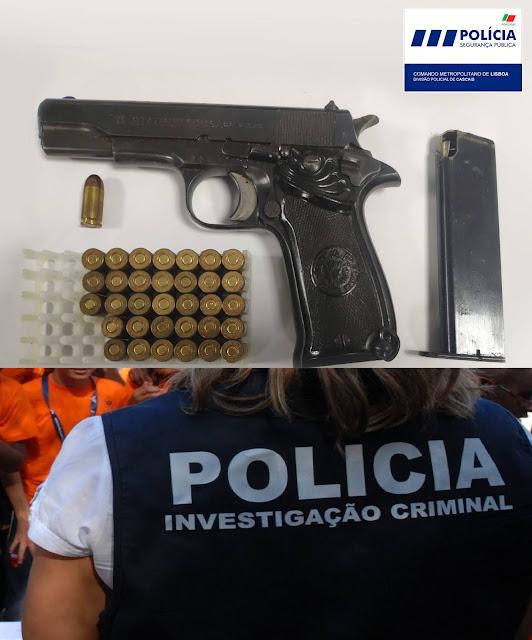 """INVESTIGAÇÃO. Busca de """"furões"""" da PSP de Cascais a moradia na Guia apanha pistola 9 m/m e 34 munições"""