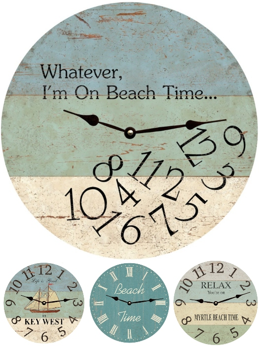 Coastal Beach Time Wall Clocks with Quotes Sayings Destinations Personalize