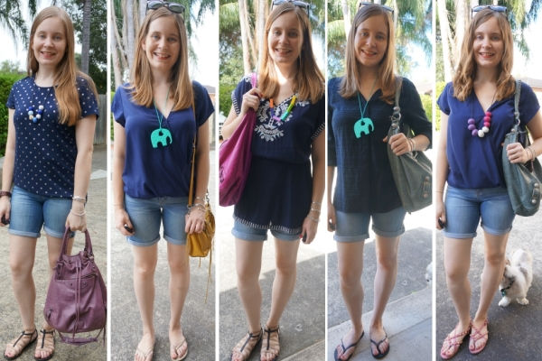 5 monochromatic outfit ideas: navy tops and blue bermuda denim shorts | away from the blue