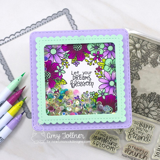 Let your dreams bloom by Amy features Floral Fringe and Frames Squared by Newton's Nook Designs; #inkypaws, #newtonsnook, #cardmaking