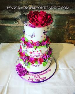 modern bright christening cake