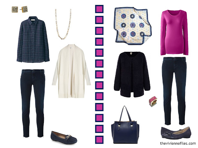 2 outfits in navy, hot pink and white, including dark-wash jeans