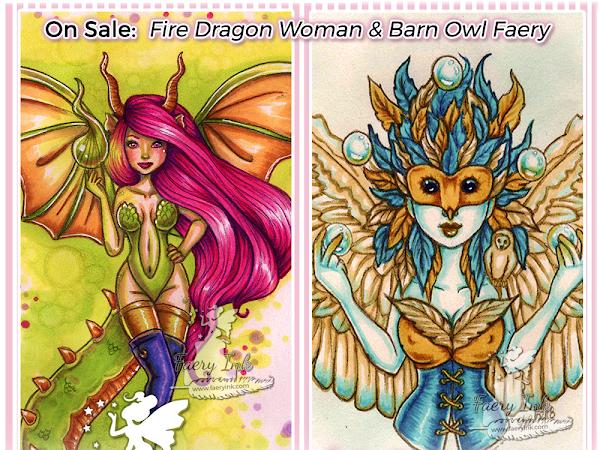 $1 Digi Weekend Sale! Fire Dragon Woman & Barn Owl Fae