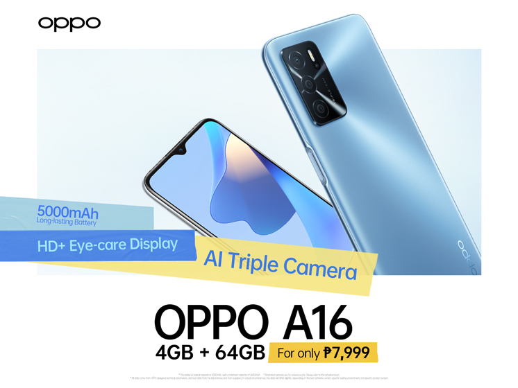 Feature-Packed OPPO A16 4GB Now Available for PHP 7,999