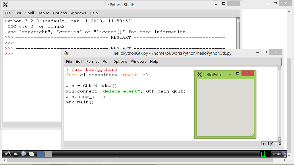 """Hello World"" of Python 3.2.3 with GTK+ 3"