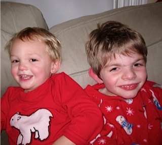 boys in red pajamas