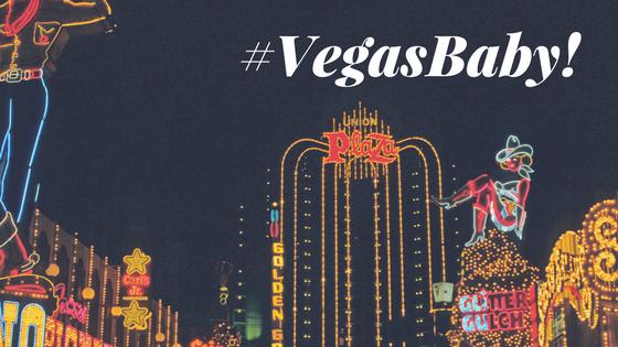 A night time shot of Vegas with #VegasBaby