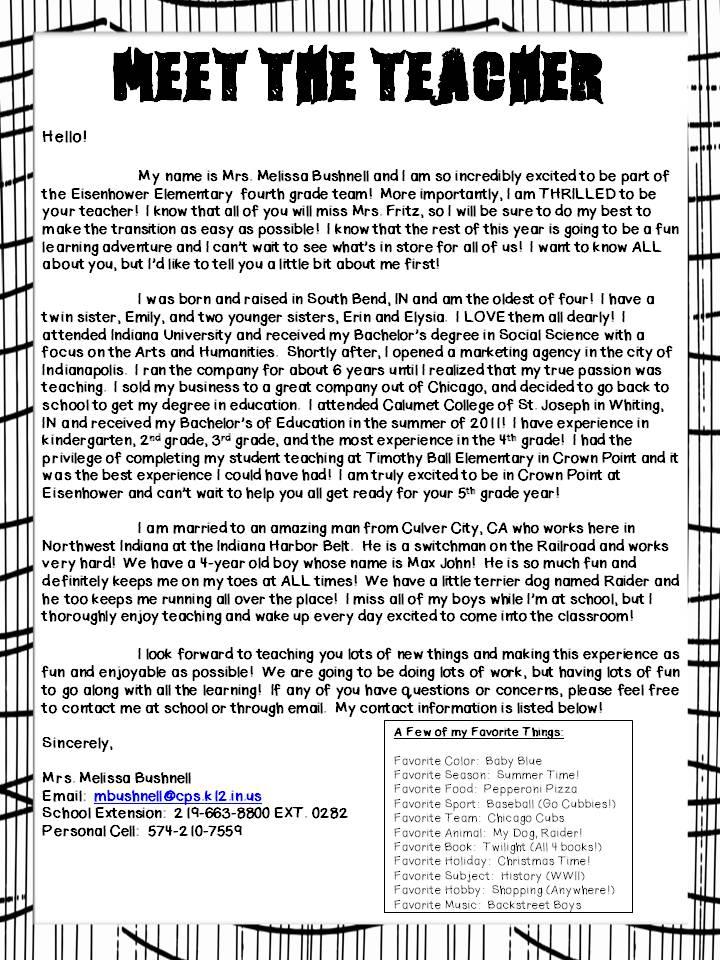 mrs bushnellu0027s 4th grade meet the teacher letter letter to students from teacher