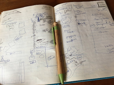 An open gardening journal with a two page drawing of a garden plan layout.