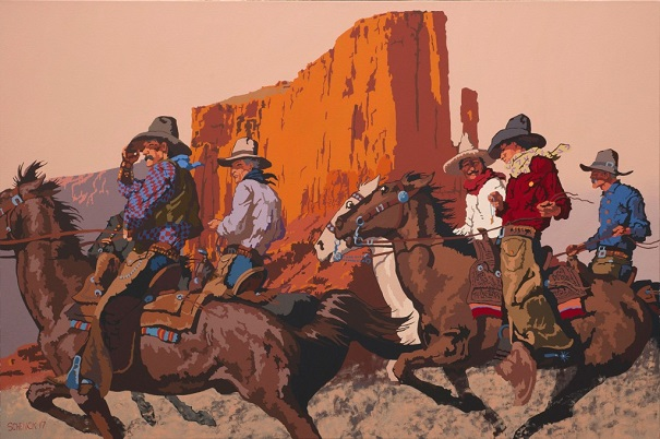 "by Billy Schenck, ""The Wild Bunch"" - oil on canvas 