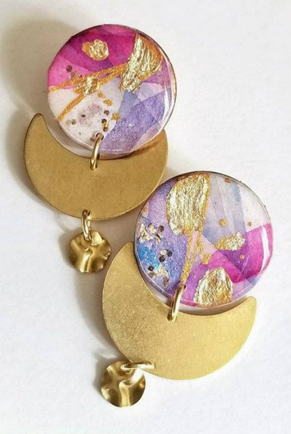 pink, purple, and gold watercolor paper and glossy resin earrings with crescent moon and bead accents
