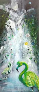 green, flamingo, landscape, art, artforsale, artist, denmark, ocean, kunst, kunsttilsalg, colourful, farverig, kunsttilvæggeneathelthy, greenworld,
