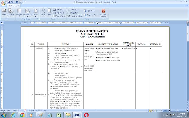 Contoh dokumen rencana kerja tahunan sekolah (RKTS)