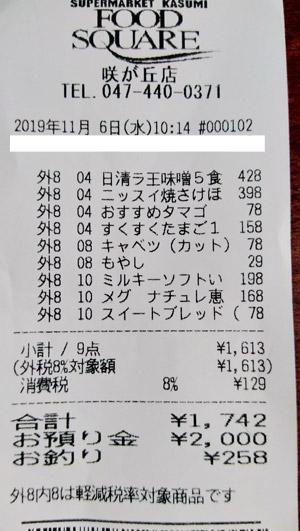 カスミ フードスクエア咲が丘店 2019/11/6 のレシート