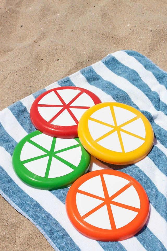 Turn frisbees into citrus slices - perfect for the beach!