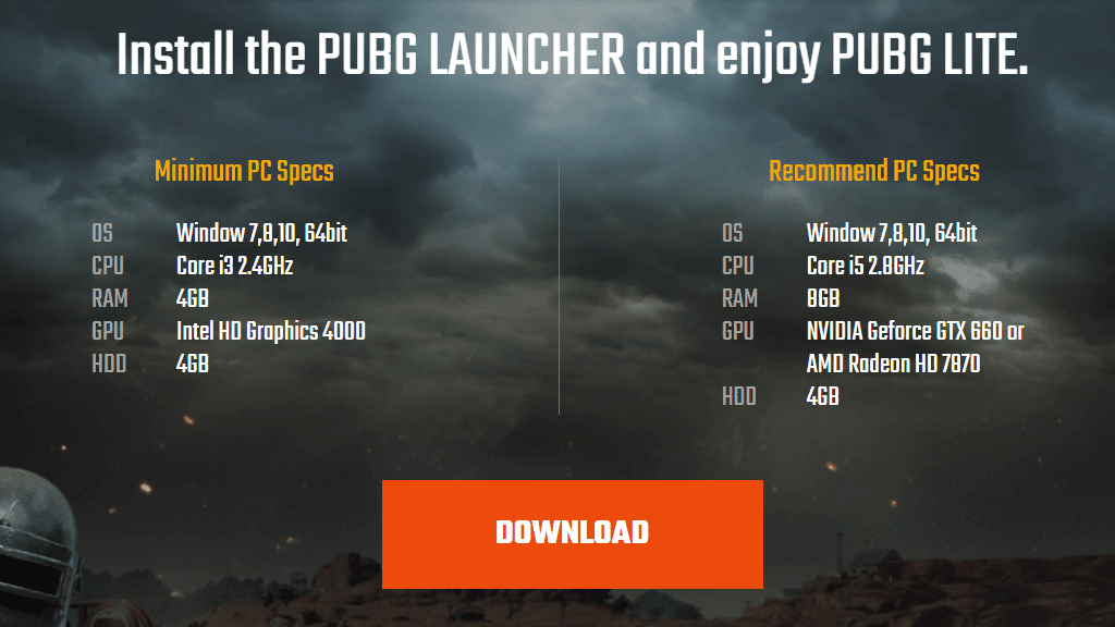spesifikasi minimum pubg lite pc