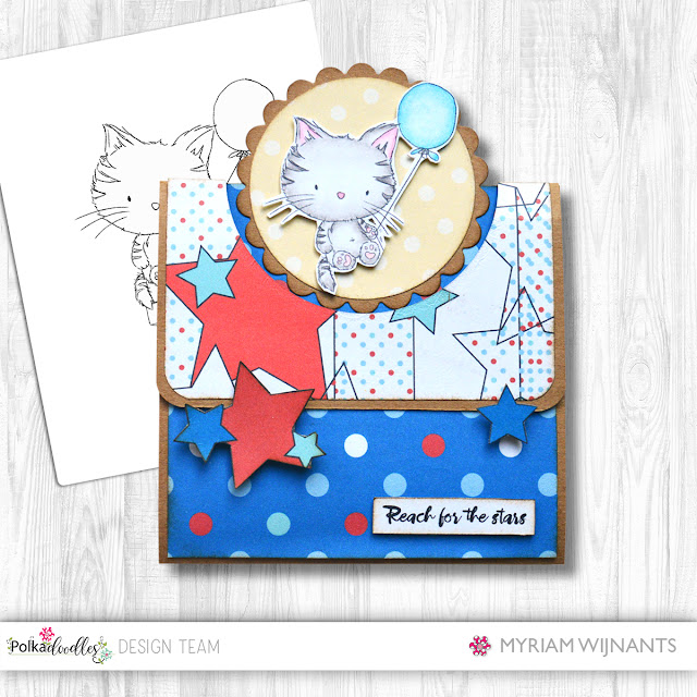 Flap Fold Card Polkadoodles Jasper Kitty Balloon