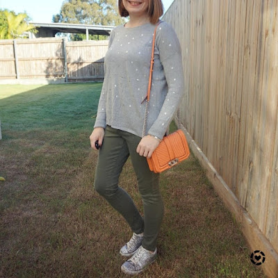 awayfromblue Instagram | olive skinny jeans with grey polka dot foil knit jumper and coral rebecca minkoff love bag