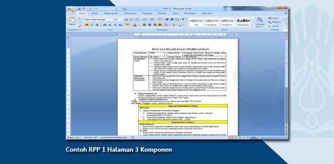 Contoh RPP 1 Halaman 3 Komponen