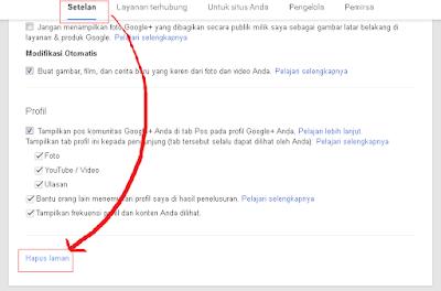 Pesan Setelah Hapus Laman Google Plus