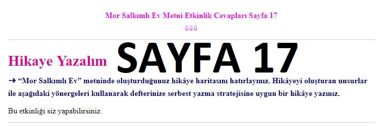 7. Sınıf Türkçe Çalışma Kitabı Cevapları Ders Destek sayfa 17