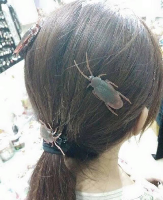 Girl wearing cockroach hair pins