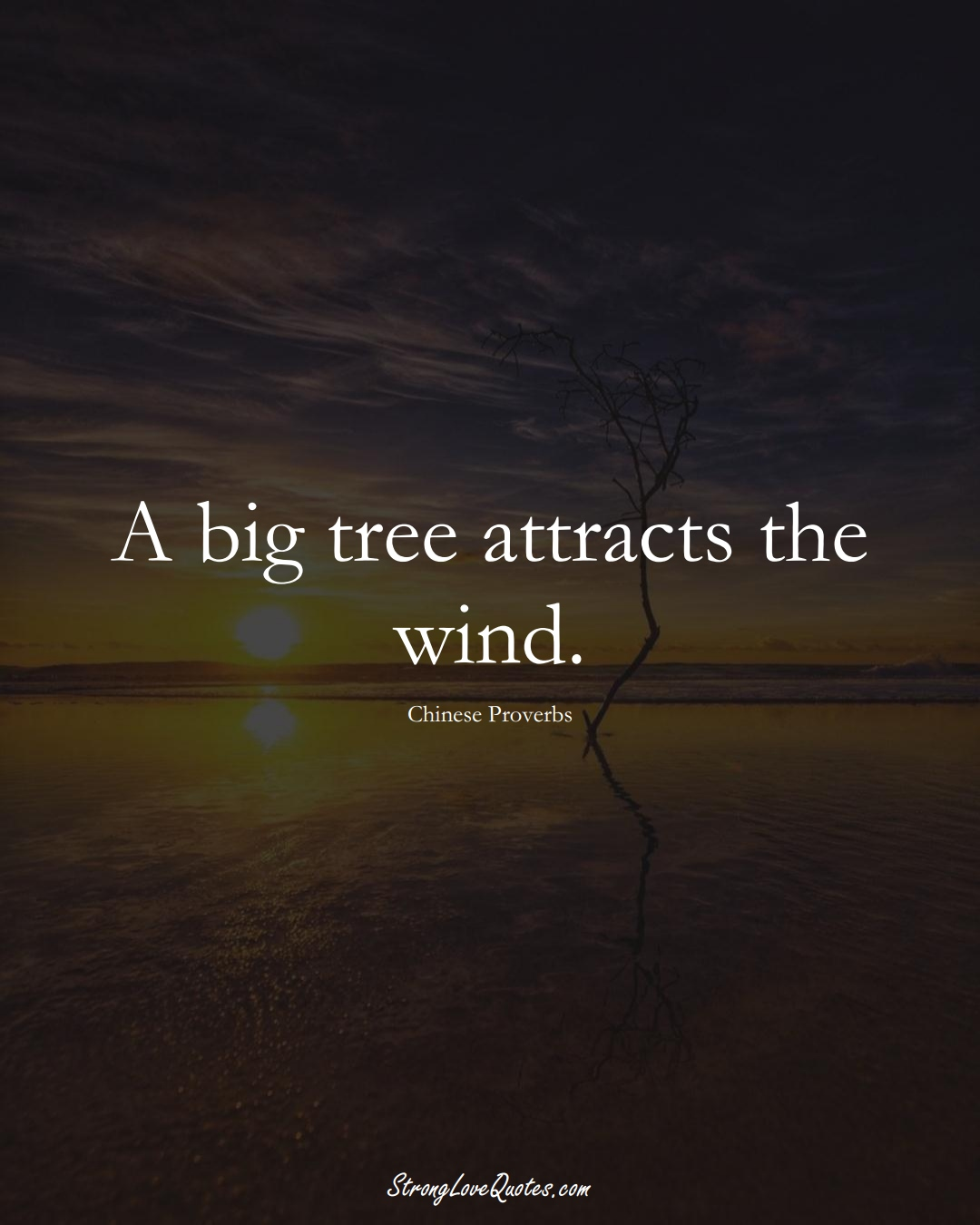 A big tree attracts the wind. (Chinese Sayings);  #AsianSayings