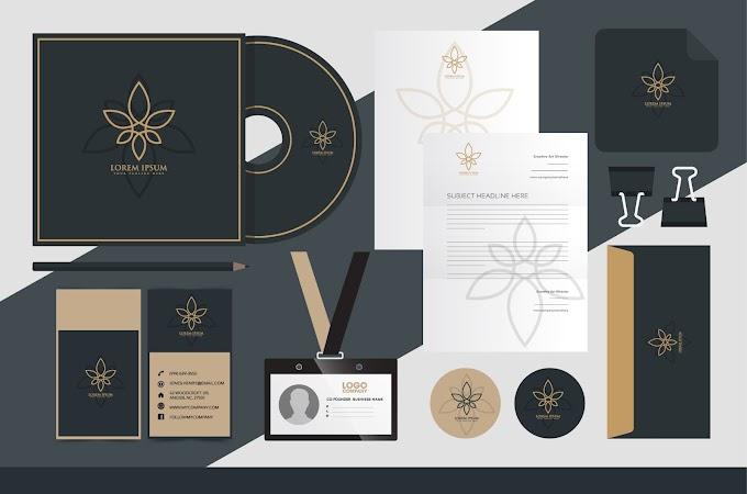 Corporate brand identity sets elegant dark floral sketch Free vector