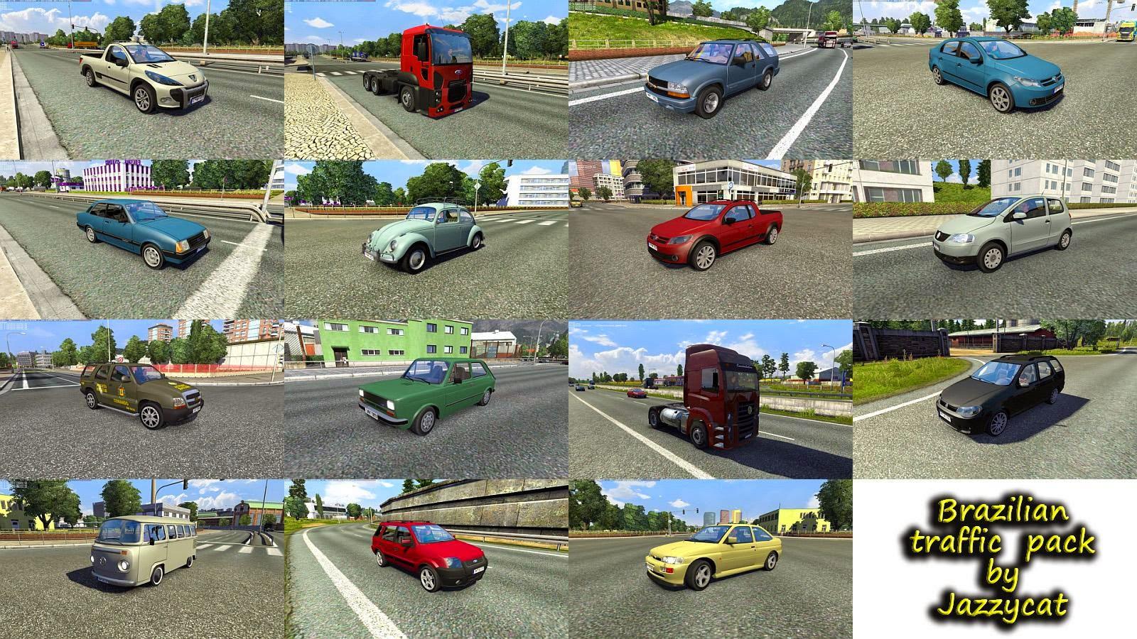 ETS2 Mod - Pack de Carros e Ônibus Brasileiros V.2.0 Para o Tráfego Para V.1.28.X By: Jazzycat