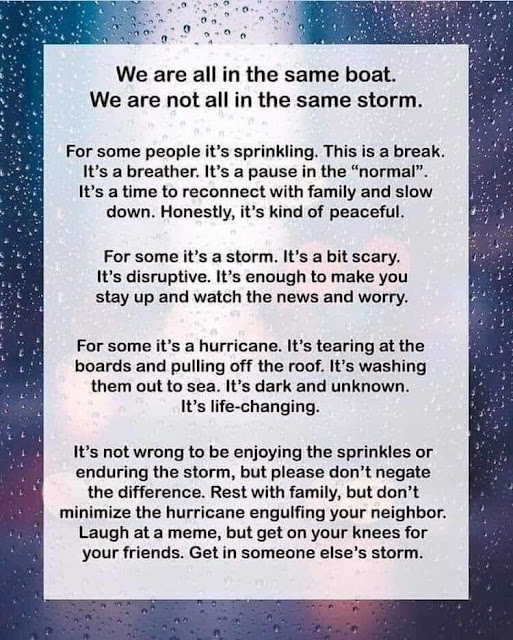 We are not in the same storm