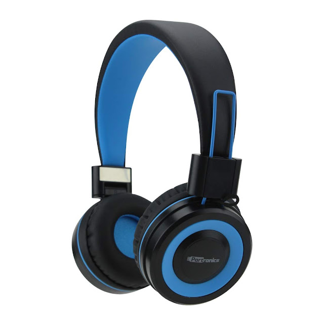 portronics muffs wireless headphones | Free Mic (Blue)