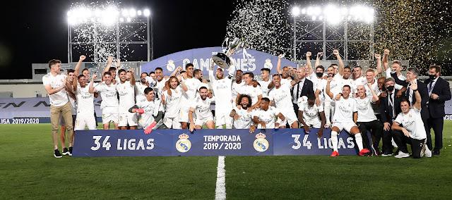 ريال مدريد يتوج بطلاً للدوري الاسباني للمرة 34 في تاريخه