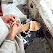 in the laboratory as we makes sandals embroidered with gemstones quartz