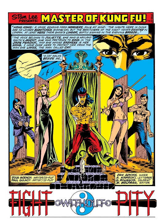 A typical Gulacy splash page with supporting characters in Steranko style