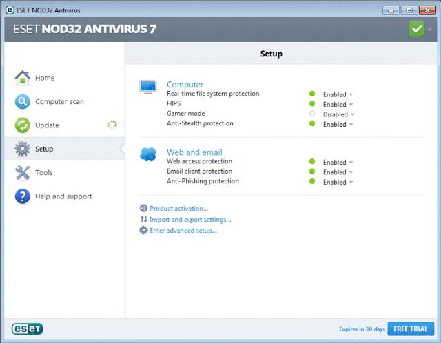 eset nod32 antivirus screenshot in top 5 antivirus software