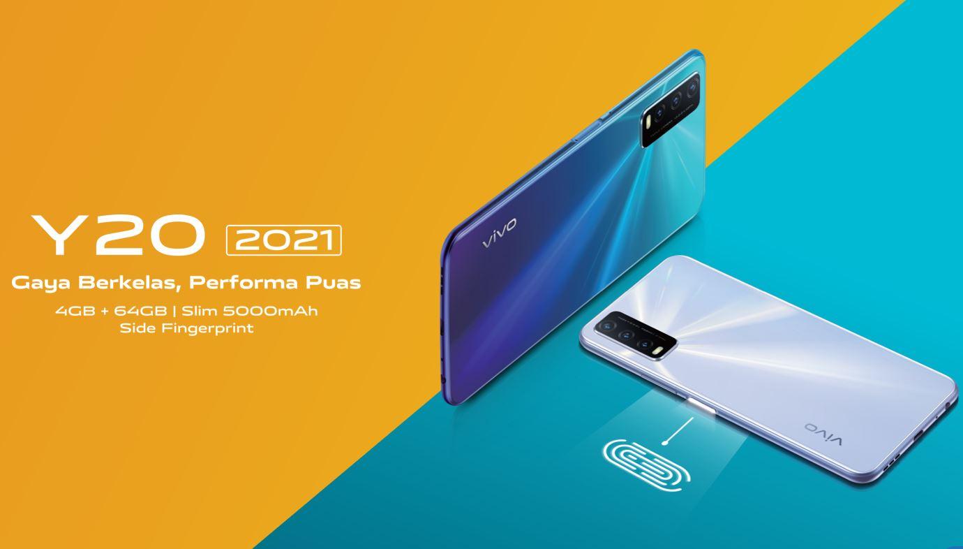 Harga dan Spesifikasi Vivo Y20 2021 RAM 4GB ROM 64GB Terbaru Bertenaga MediaTek Helio P35