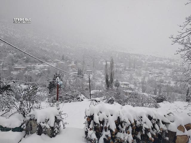 Μεγάλη χιονόπτωση στο Κεφαλόβρυσο Αργολίδας