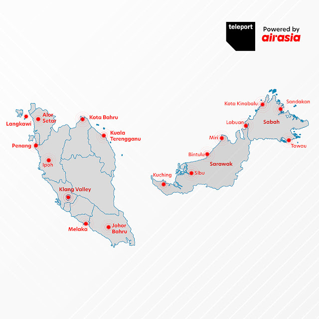 Teleport is now available in 17 cities across Malaysia