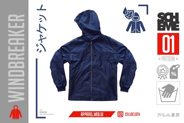 Contoh Windbreaker Jacket Polos Pola Jahit Custom Scheme 01