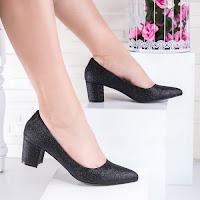 Pantofi cu toc dama negri glitter Paromia
