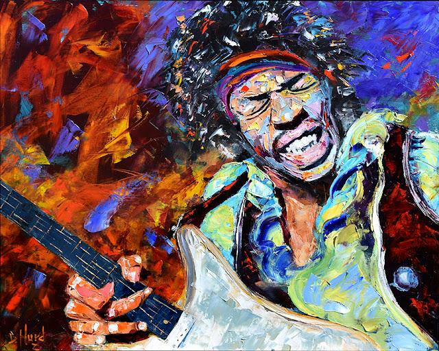 Jimi Hendrix Portrait Painting Rock Blues Guitar Art by Debra Hurd
