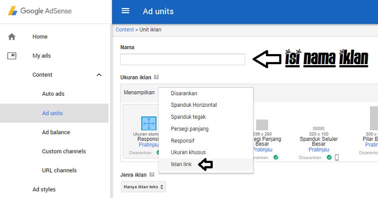 Cara Membuat Iklan Tautan link google adsense