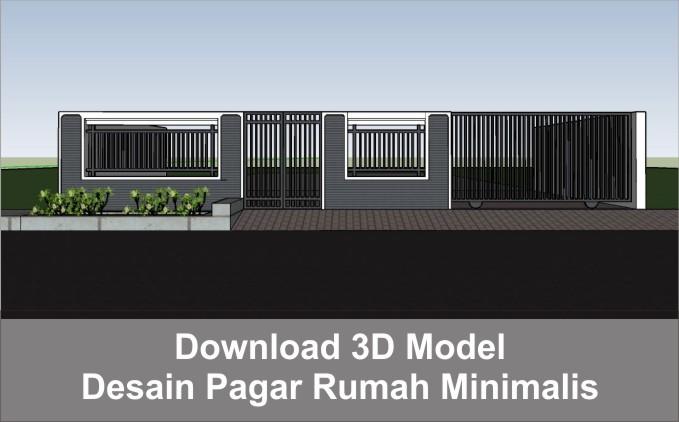 download 3d desain pagar rumah minimalis