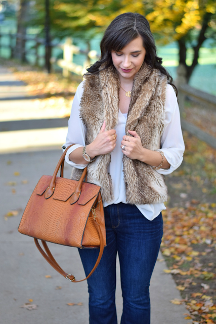 Brown Faux Fur Vest Fall Teacher Fashion