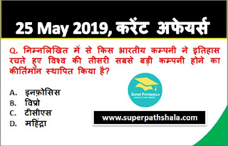 Daily Current Affairs Quiz in Hindi 25 May 2019