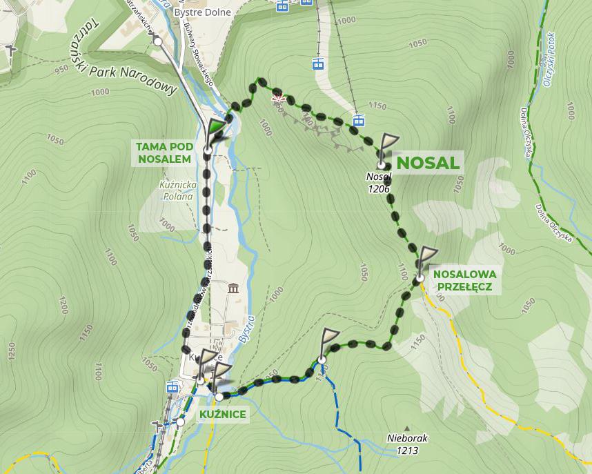 szlak turystyczny na Nosal